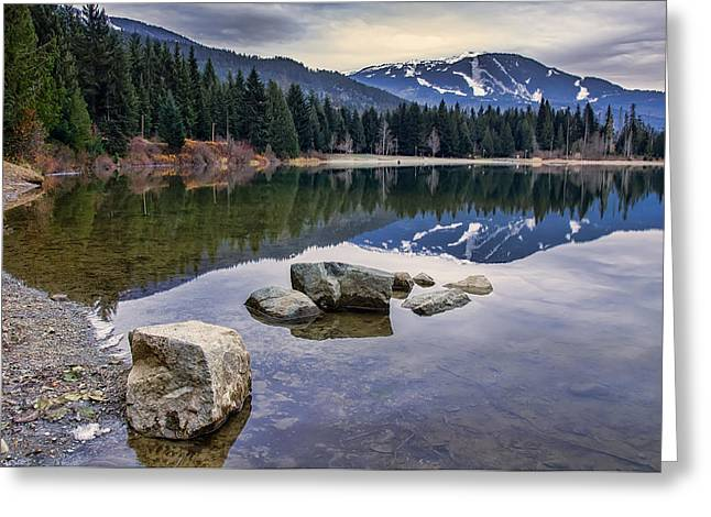 Mountain Reflection Lake Summit Mirror Greeting Cards - Whistler Mountain Reflection Greeting Card by James Wheeler