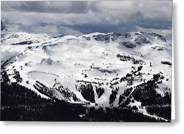 Snowboard Greeting Cards - Whistler Mountain view from Blackcomb Greeting Card by Pierre Leclerc Photography