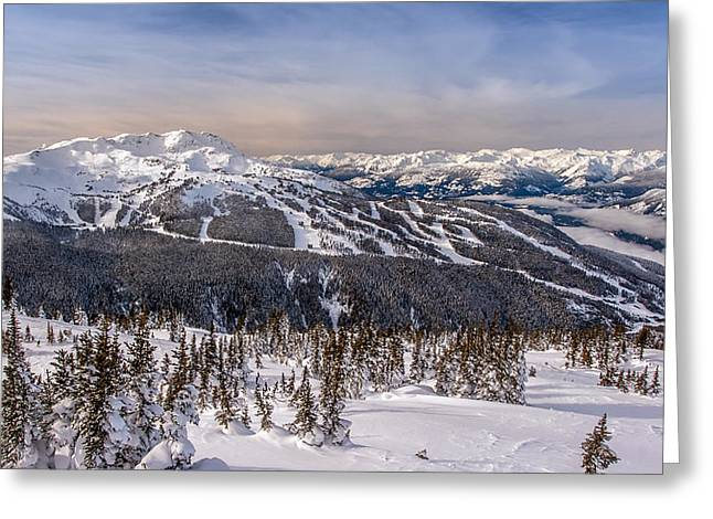 Whistler Greeting Cards - Whistler Mountain Winter Greeting Card by Pierre Leclerc Photography
