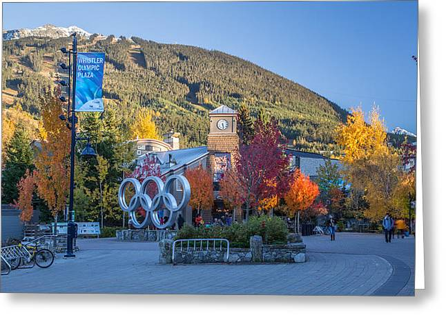 Ski Village Greeting Cards - Whistler Olympic Plaza in Autumn Greeting Card by Pierre Leclerc Photography