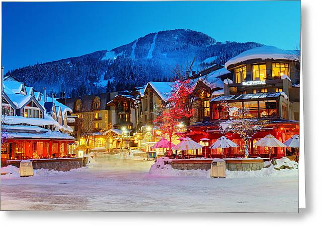 Whistler Greeting Cards - Whistler Village  Greeting Card by Pierre Leclerc Photography