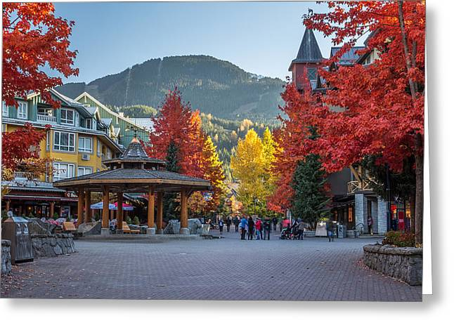 Ski Village Greeting Cards - Whistler Village Stroll on a beautiful Autumn day Greeting Card by Pierre Leclerc Photography