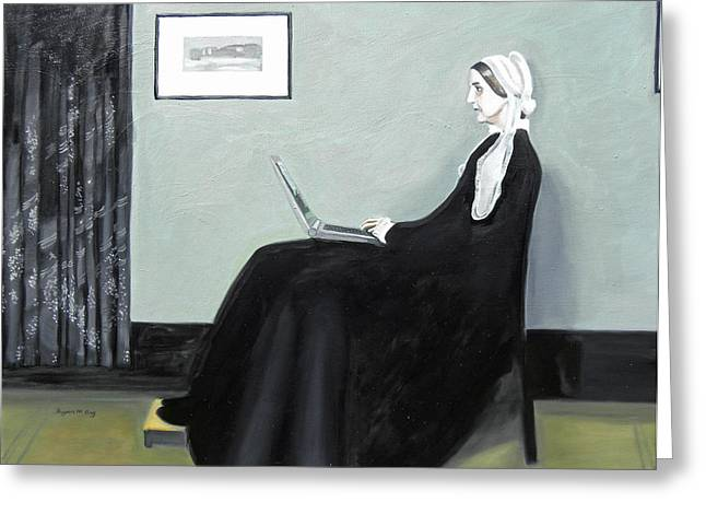 Clever Paintings Greeting Cards - Whistlers Mother Googles Herself Greeting Card by Bryan Ory