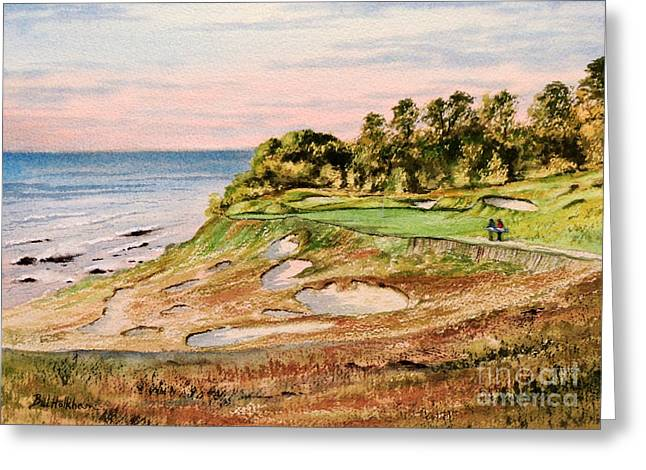 Linked Paintings Greeting Cards - Whistling Straits Golf Course 17Th Hole Greeting Card by Bill Holkham