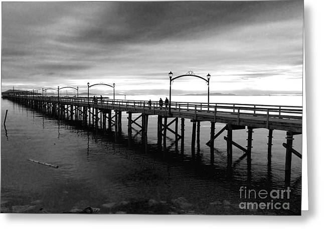 Lack And White Greeting Cards - White Rock Pier Greeting Card by David Tonn