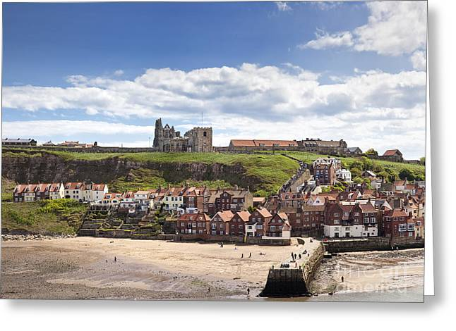 Whitby Abbey And Church Above The Harbour Entrance Whitby North Yorkshire England Uk  Greeting Card by Jon Boyes