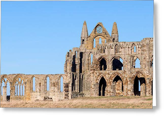 Whitby Abbey Panorama Greeting Card by Paul Cowan