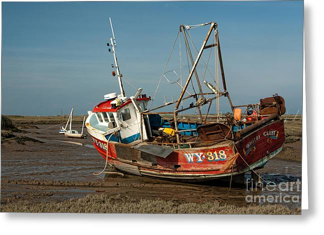 Wetland Greeting Cards - Whitby Crest at Brancaster Staithe Greeting Card by John Edwards