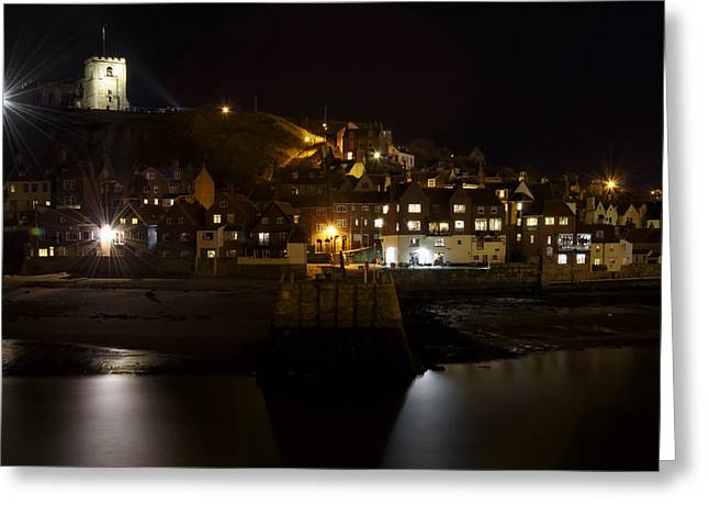 Hills Greeting Cards - Whitby East Cliff By Night Greeting Card by Rod Johnson