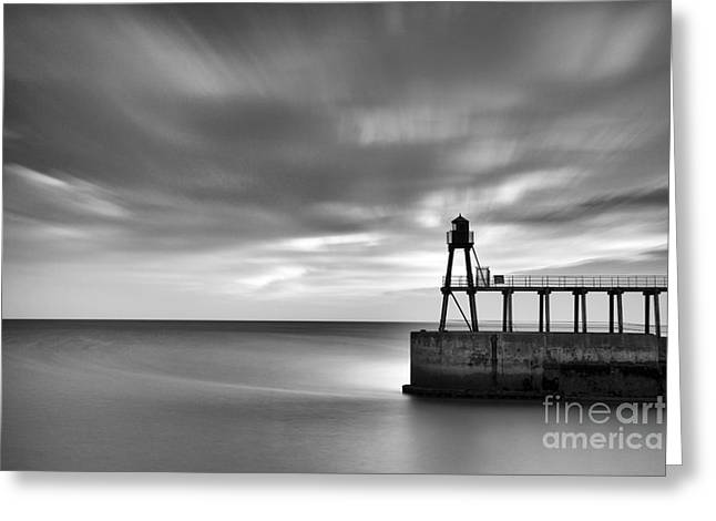 Whitby East Pier Dawn Greeting Card by John Potter