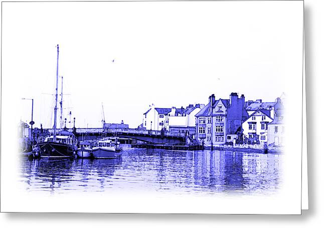 Jane Mcilroy Greeting Cards - Whitby Harbor Greeting Card by Jane McIlroy