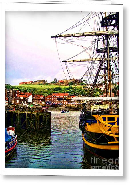 Whitby Harbor North Yorkshire Greeting Card by Joan  Minchak