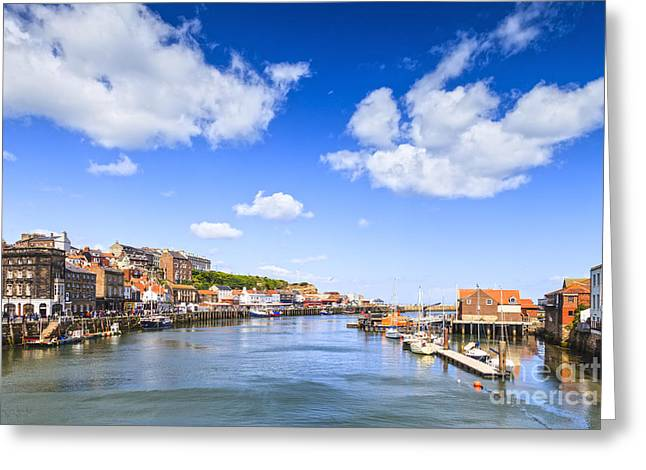 Whitby Greeting Cards - Whitby Harbour and River Esk North Yorkshire England Greeting Card by Colin and Linda McKie