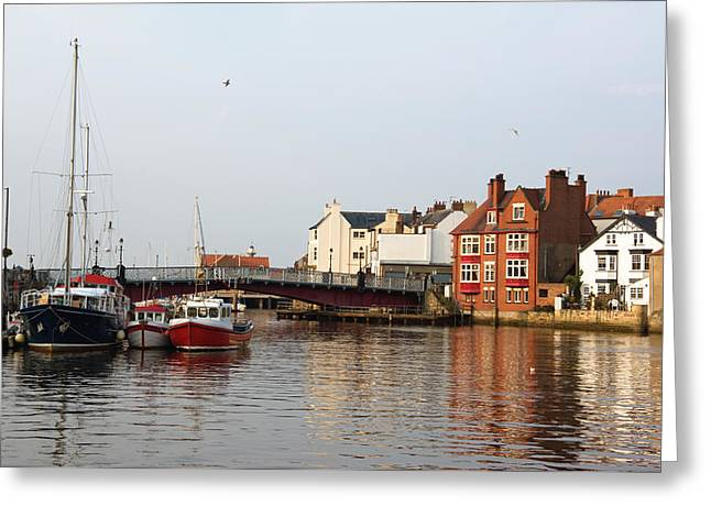 Jane Mcilroy Greeting Cards - Whitby Harbour Greeting Card by Jane McIlroy
