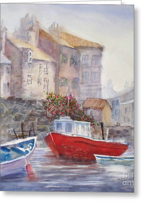 Wooden Ship Paintings Greeting Cards - Whitby Harbour Greeting Card by Mohamed Hirji