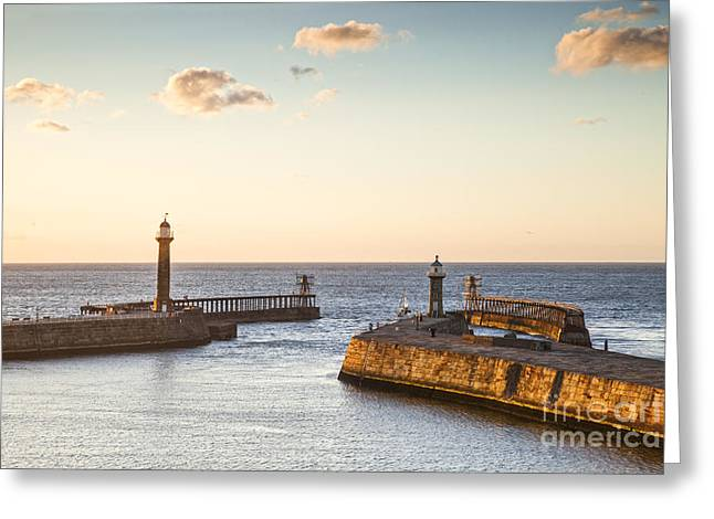 Whitby Greeting Cards - Whitby Harbour North Yorkshire England Greeting Card by Colin and Linda McKie
