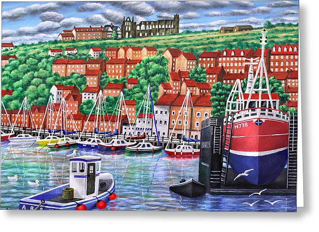 Whitby Harbour Greeting Card by Ronald Haber