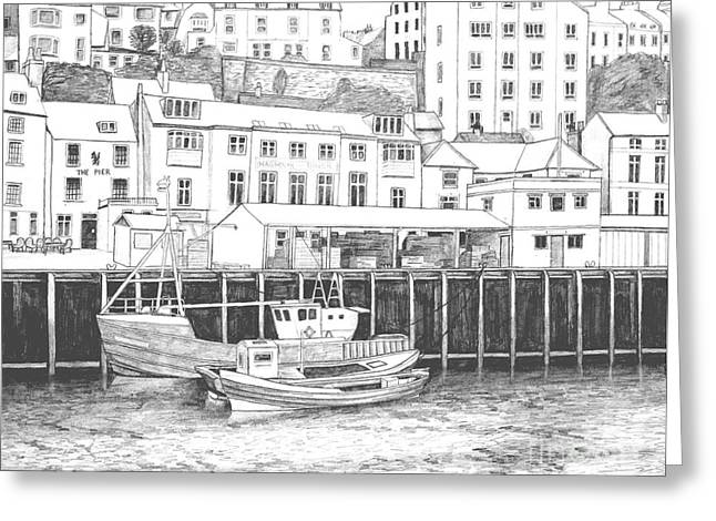 Water Vessels Drawings Greeting Cards - Whitby Harbour Greeting Card by Shirley Miller