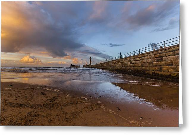 Whitby Greeting Cards - Whitby pier Greeting Card by Chris Fletcher