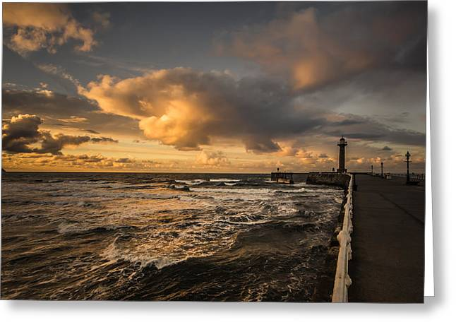 Whitby Greeting Cards - Whitby sunset Greeting Card by Chris Fletcher