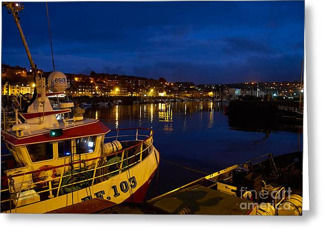 Whitby Upper Harbour At Night Greeting Card by Louise Heusinkveld