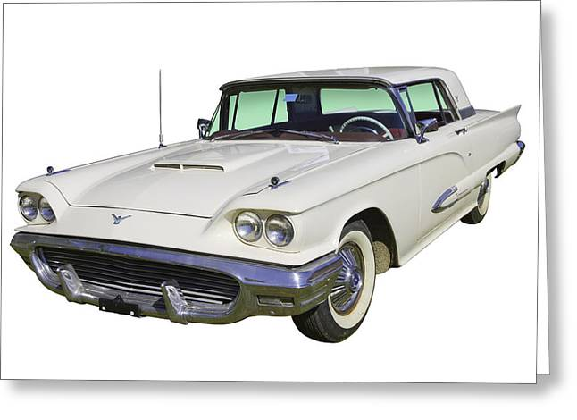 Old Automobile Greeting Cards - White 1958  Ford Thunderbird Classic Car Greeting Card by Keith Webber Jr