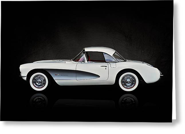 White Chevy Greeting Cards - White 57 Vette Greeting Card by Douglas Pittman