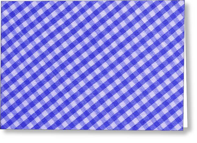 Checked Tablecloths Photographs Greeting Cards - White and Blue Checkered Design Fabric Background Greeting Card by Keith Webber Jr