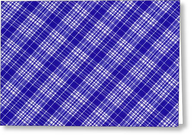 Checked Tablecloths Photographs Greeting Cards - White And Blue Plaid Fabric Background Greeting Card by Keith Webber Jr