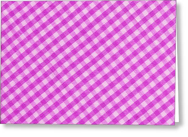 Checked Tablecloths Photographs Greeting Cards - White and Pink Checkered Fabric Background Greeting Card by Keith Webber Jr