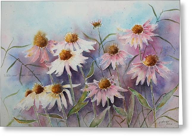 Patsy Sharpe Paintings Greeting Cards - White and Pink Coneflowers Greeting Card by Patsy Sharpe