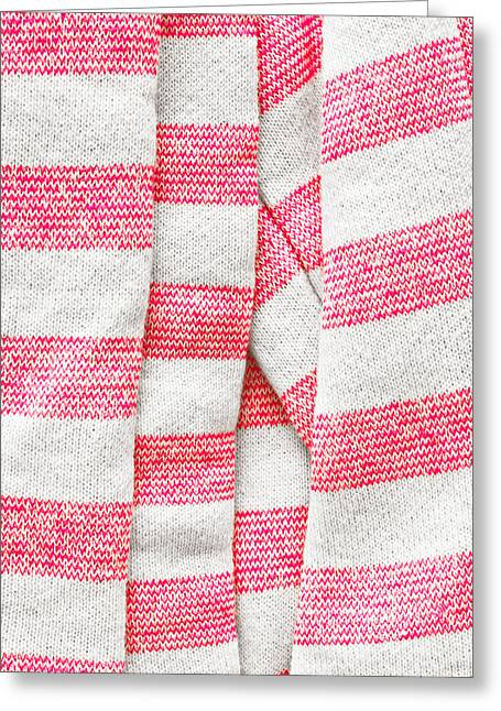 Striped Scarf Greeting Cards - White and pink stripes Greeting Card by Tom Gowanlock