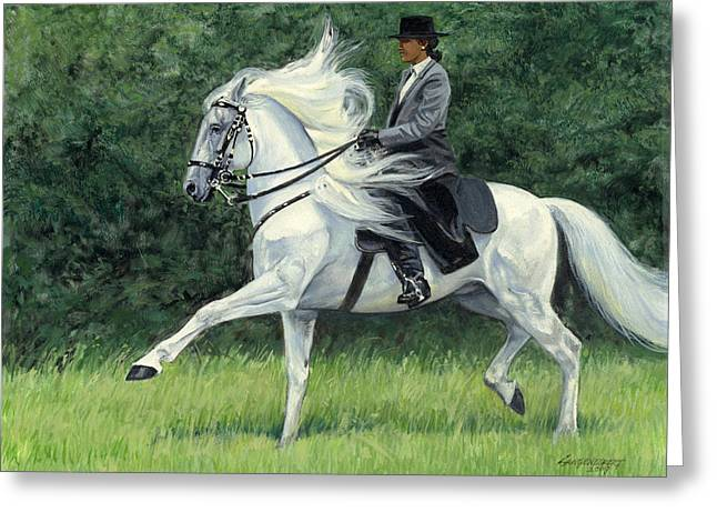 Show Horse Greeting Cards - White Andalusia Flowing Mane Greeting Card by Don  Langeneckert