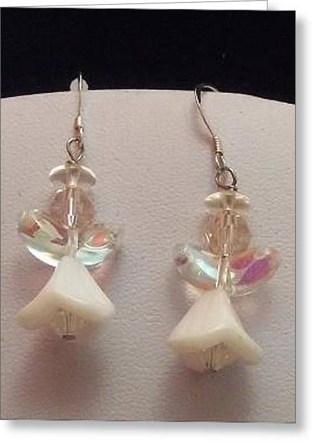 White Angel Earrings Greeting Card by Kimberly Johnson