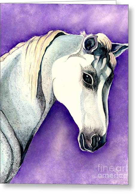 Watercolor Fairytale Greeting Cards - White Arabian Horse  Greeting Card by Janine Riley