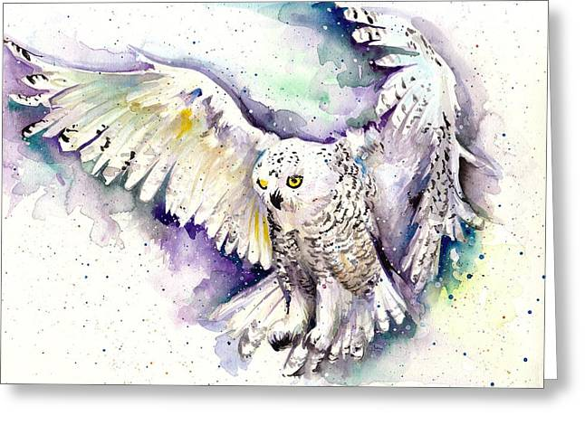 Snowy Night Night Greeting Cards - White Arctic Polar Owl - Wizard Dynamic White Owl Greeting Card by Tiberiu Soos