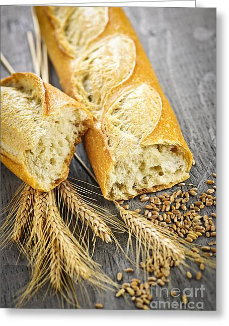 Bread Loaf Greeting Cards - White baguette Greeting Card by Elena Elisseeva