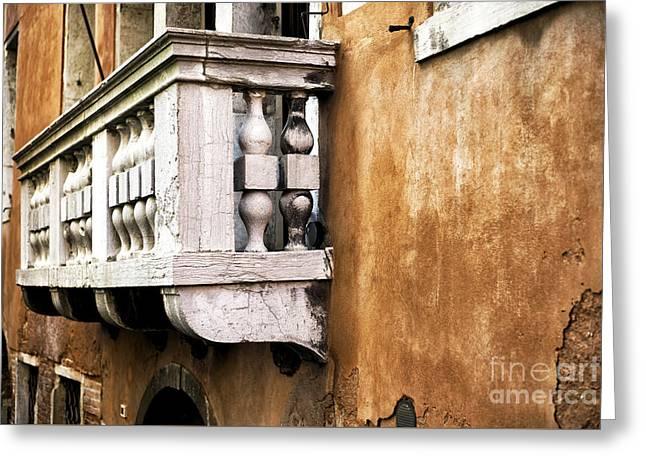 Venetian Balcony Greeting Cards - White Balcony in Venice Greeting Card by John Rizzuto