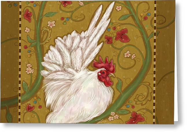 Farm Mixed Media Greeting Cards - White Bantam Rooster Greeting Card by Shari Warren