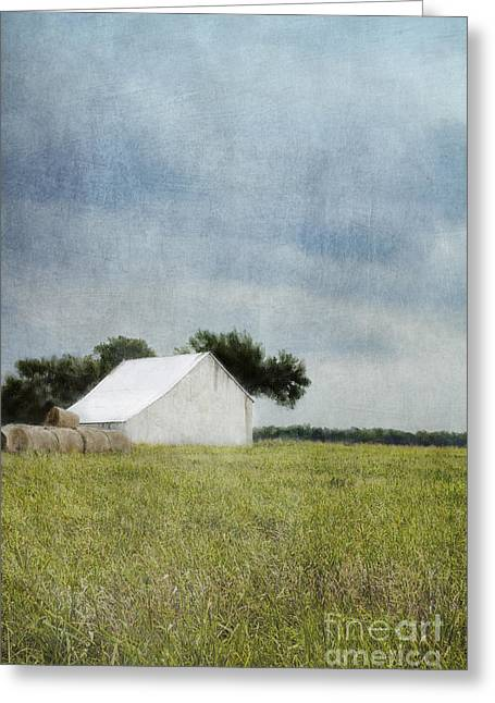White Barn Greeting Card by Elena Nosyreva
