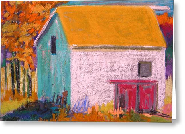 Red Roofed Barn Drawings Greeting Cards - White Barn Greeting Card by John  Williams