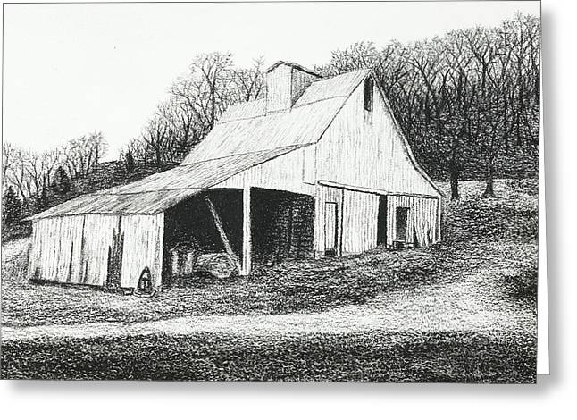 Old Barn Drawing Greeting Cards - White Barn on Bluff Road Greeting Card by Garry McMichael