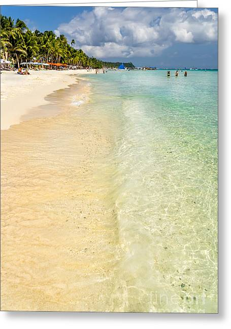 Umbrella Greeting Cards - White Beach Boracay Greeting Card by Adrian Evans