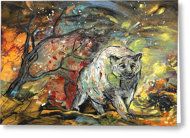 Wild Life Drawings Greeting Cards - White Bear in The Storm Greeting Card by Miki De Goodaboom