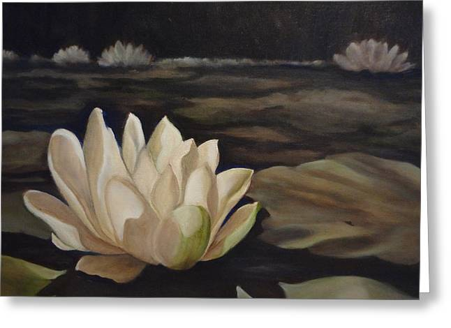 Indiana Flowers Paintings Greeting Cards - White beauty Greeting Card by Laurine Baumgart
