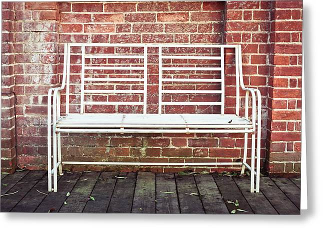 Interior Scene Photographs Greeting Cards - White bench Greeting Card by Tom Gowanlock