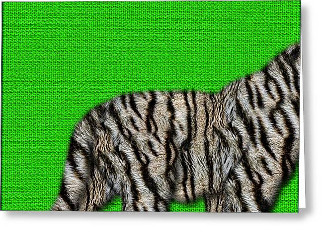 The Tiger Greeting Cards - White Bengal Tiger Furry Bottom on Green Greeting Card by Serge Averbukh