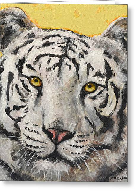 White Paintings Greeting Cards - White Bengal Tiger Greeting Card by Mary Medrano