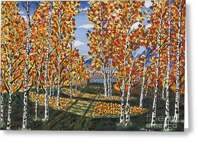 White Paintings Greeting Cards - White Birch Reservoir  Greeting Card by Jeffrey Koss