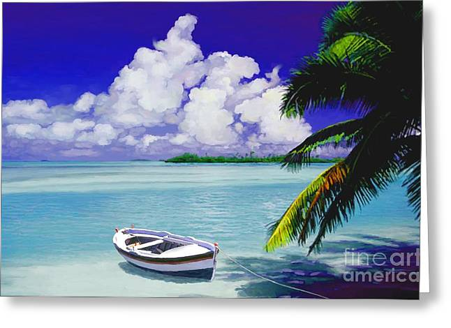 My Ocean Mixed Media Greeting Cards - White boat on a tropical island Greeting Card by David  Van Hulst